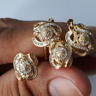 Terno Diamond Set Earrings, Pendant, & Ring