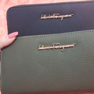 Salvatore Ferragamo long wallet in black or khaki