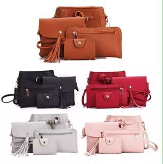 4pcs women tote sling bag ready stock leather bag