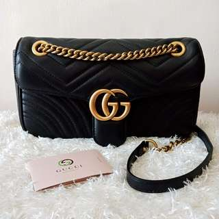 Authentic GUCCI GG Marmont Quilted Leather Shoulder Bag