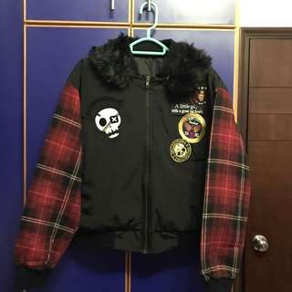 韓國 黑色 夾棉褸 外套