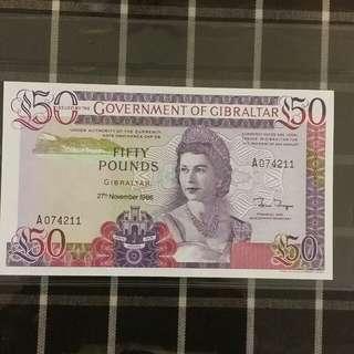 GIbraltar 1986 50 Pound UNC