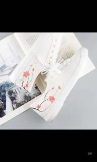 White Art Canvas Shoes Leisure Hand-painted shoes White Shoes Flat shoes