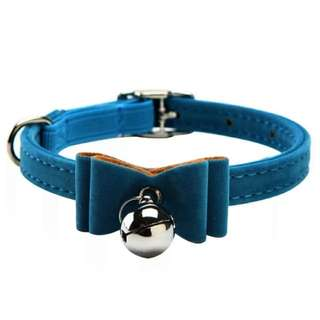 Adjustable Bowknot Lead Leather PU Cat Kitten Dog Puppy Pet Collars with Bell Necklace