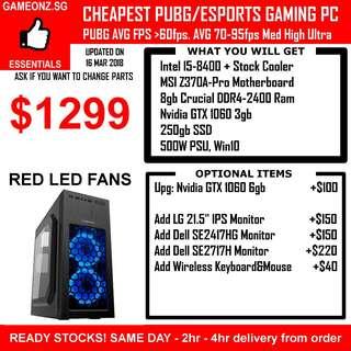 ESPORTS PUBG GAMING PC INTEL I5-8400 8GB RAM SSD NVIDIA GEFORCE GTX 1060 GTX1060 CSGO LOL DOTA2 OVERWATCH BATTLEFIELD FIFA CUSTOM DESKTOP RIG