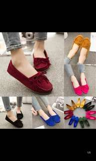Korean version frosted peas shoes women's shoes bow tassel flat with large size women's shoes
