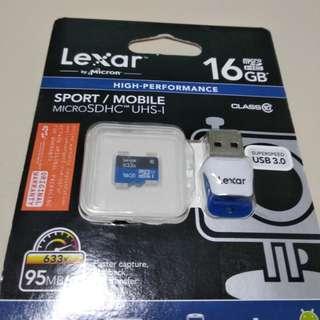 Micro SD Card Lexar 16gb 633x class 10 usb 3