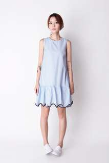 AFA CATCH THE WAVE STRIPED DRESS IN BLUE S