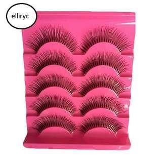 False Eyelashes 5 pairs (3D, Natural, Long, Handmade, Thick) #8101129