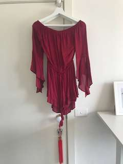MISSGUIDED Burgundy Off Shoulder Playsuit