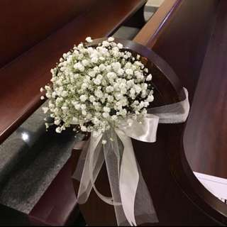 Church Wedding Decorations with Fresh Baby Breath / Church Pews
