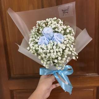 Premium Preserved Blue Rose with Fresh White Baby Breath / Birthday Bouquet / Anniversary Bouquet