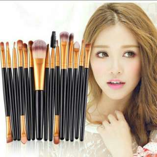 BN set of 15 pcs Make Up Brushes professional black gold  Quality brushes for eyes face cheek lips eyebrows etc