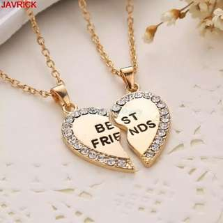 1Pair Half Love Heart Rhinestone Pendant Best Friends Necklace Friendship Gift For Couple