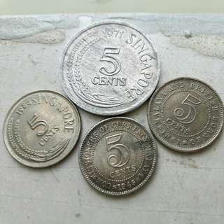 Old Singapore 5 cents Coin family