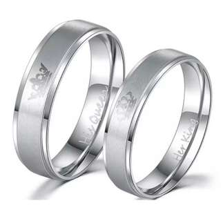 New Fashion DIY Couple Jewelry Her King and His Queen Stainless Steel Wedding Rings for Women Men