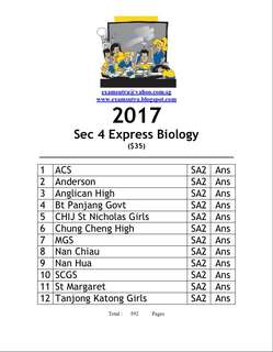 <hard copy> 2017 secondary 4 pure biology top school exam paper