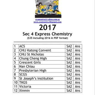 <hard copy> 2017 secondary 4 express pure chemistry top school exam paper