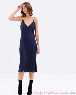 Navy Lace up slip dress