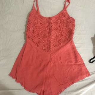 Mika & Gala crochet coral playsuit