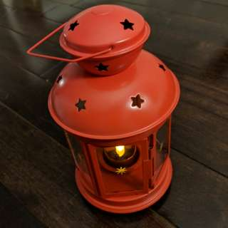 IKEA Red Lantern with Candle