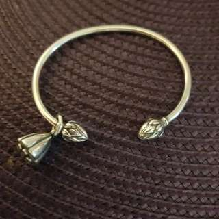 Sterling silver lotus pod bangle