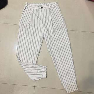 Uniqlo 全新/條紋縮口/西裝老爺褲 /黑/白
