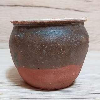 宋醬釉罐 吉州窯 口寬7cm 高6cm 連皮売