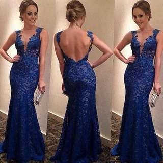 Women's blue evening dress