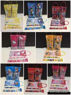 Brand New Disney Cartoons Kids Children Goodies Bag Pencils Case Cum Bag 6 In 1 Stationery Sets !!