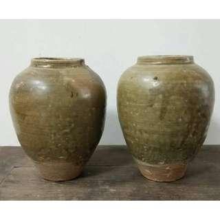 北宋越窯大罐對出 全品 釉靚 大器 高17.5cm