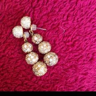 Swarovski crystal ball gold plated earrings