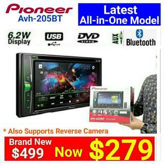 "[Brand New] Car Stereo Pioneer 205BT Bluetooth/6.25"" Touchscreen DvD/CD/USB/FM Receiver.  Usual Price: $499.90 Special price: $279 (Brand new in box & sealed)  whatsapp 85992490 to pick up Today. 30 days one to one immediate xchange Warranty."
