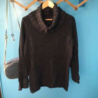 Cowl neck sweater with sleeve details