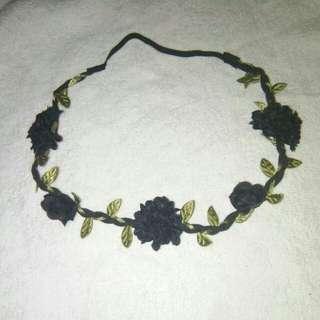 Black flowers hair band bandana