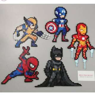 Hama beads design hero marvel dc comics batman  captain america spiderman iron man wolverine