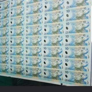 New Zealand $10 Polymer Uncutnotes of 40in1