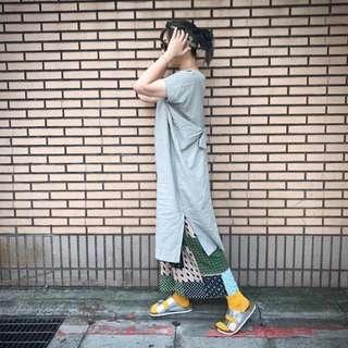 全新正韓 灰綠扭結長上衣/洋裝