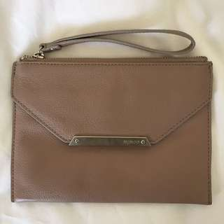 Mimco Genuine Leather Beige Clutch
