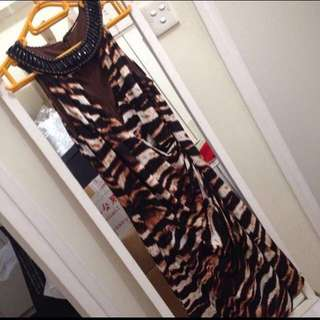 Boston Proper Neck Embellished animal print dress