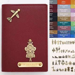 Personalised Passport Holder Travel Passport Case Customised Name Saffiano Burgundy Passport with Princess Charm-Many Colour & Charms - FREE SHIPPING