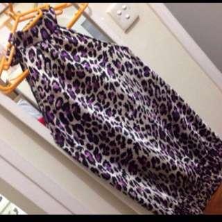 Animal print silk satin mini dress/ top