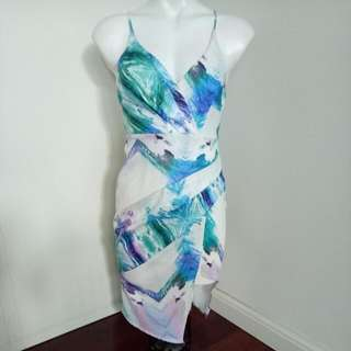 Printed Spaghetti Strap Formal / Wedding / Cocktail Textured Dress With Split
