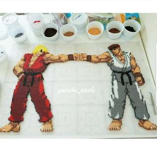 Hama beads design huge street fighter ryu and ken
