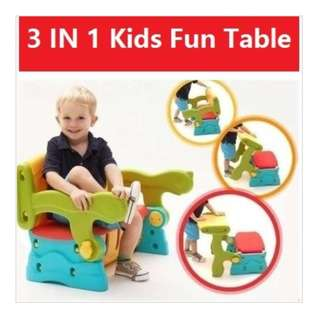 3 in 1 multi-purpose kids table, chair and storage
