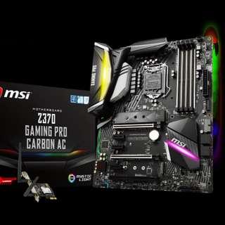 i7 8700K Six Cores/12 Threads + MSI Z370 Gaming Pro Carbon AC w Bluetooth + Wifi