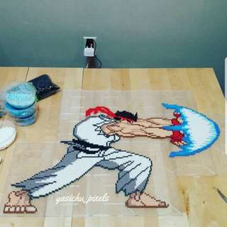 Hama beads design huge street fighter ryu and ken in action