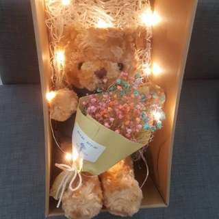($29)Baby breath with bear Bouquet