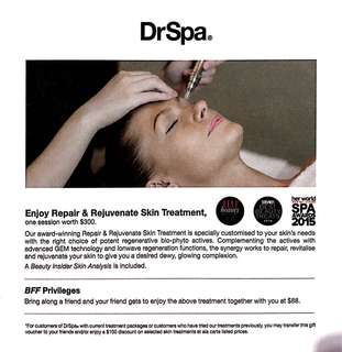 $300 facial voucher (one-time use)