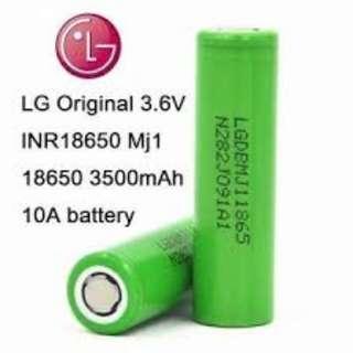 LG MJ1 3500mAh, 10A Flat Top High Drain 18650 Battery- $14 ea
